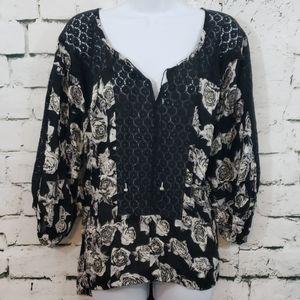 Free People black floral loose blouse